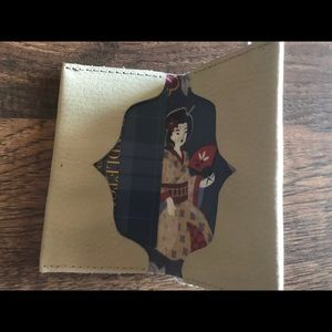 Accessories - Handmade leather card holder with geisha liner